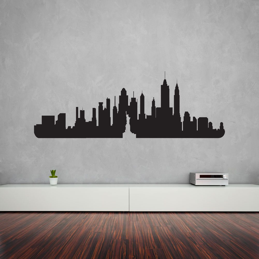 Wall Art Decals For Living Room: New York City Skyline Vinyl Wall Art Decal