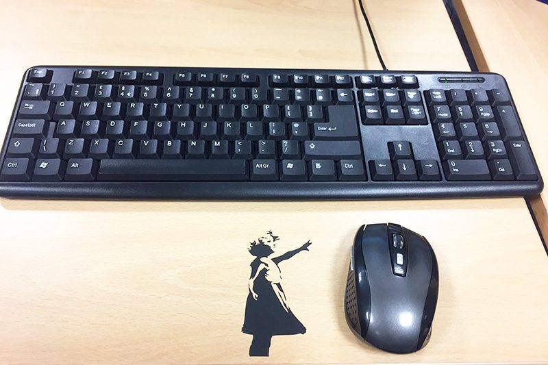 Banksy vinyl decal lifestyle shot