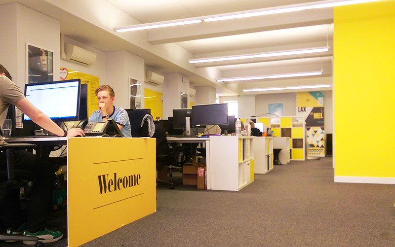 A yellow desk vinyl wrap