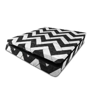 Black And White Marble Zig Zag Tiles PS4 Slim Skin