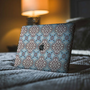 Blue Patterned Tiles Macbook Skin