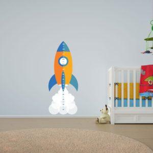 Child's Growth Chart Rocket Wall Art