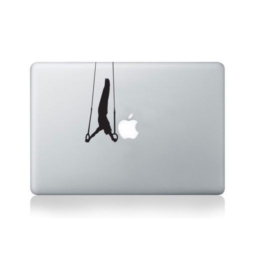 Gymnast On Rope Holds Macbook Decal