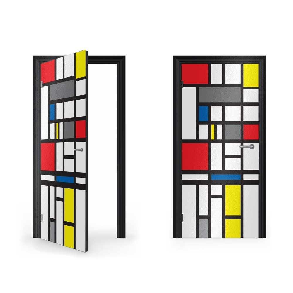 Mondrian abstract art vinyl sticker for door vinyl for Door mural stickers