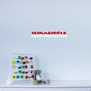 Indonesia Country Name As Flag Wall Art